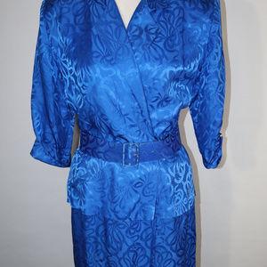 Vintage  Silk Studio Sapphire Belted Dress Size 6